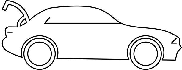 Car with open trunk icon vector art illustration