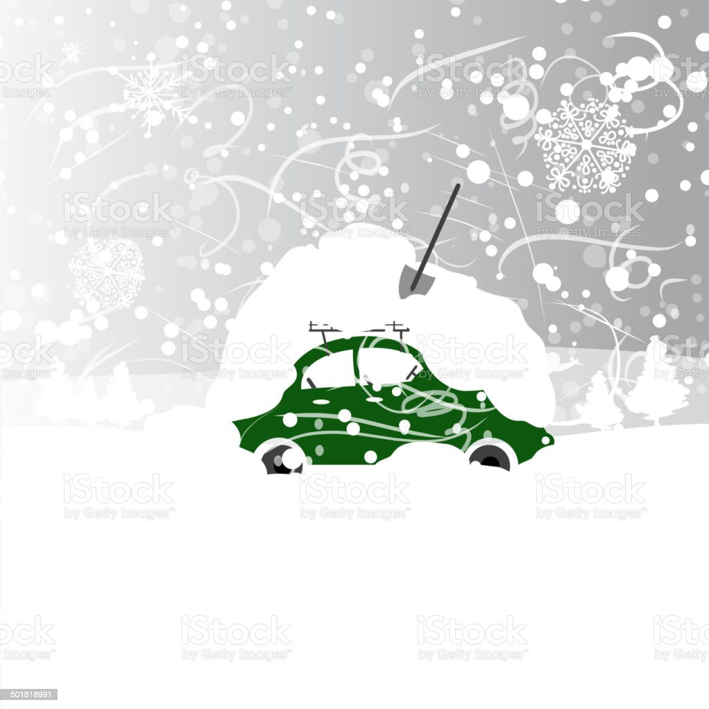 Car with snowbank on roof, winter blizzard vector art illustration