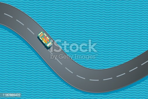 Car with surfboards. Summer vacation trip. Ocean road top view. Vector cartoon illustration.