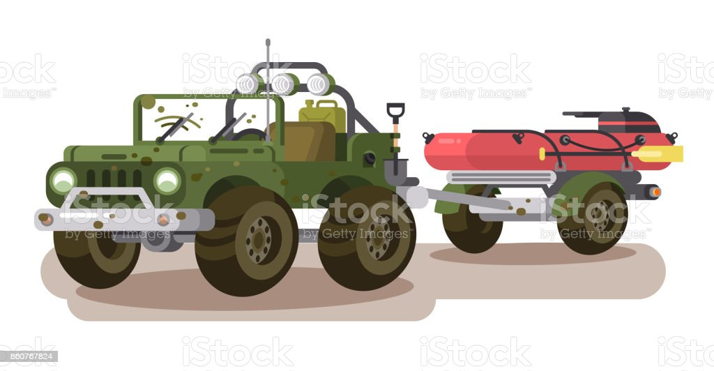 SUV car with trailer boat vector art illustration