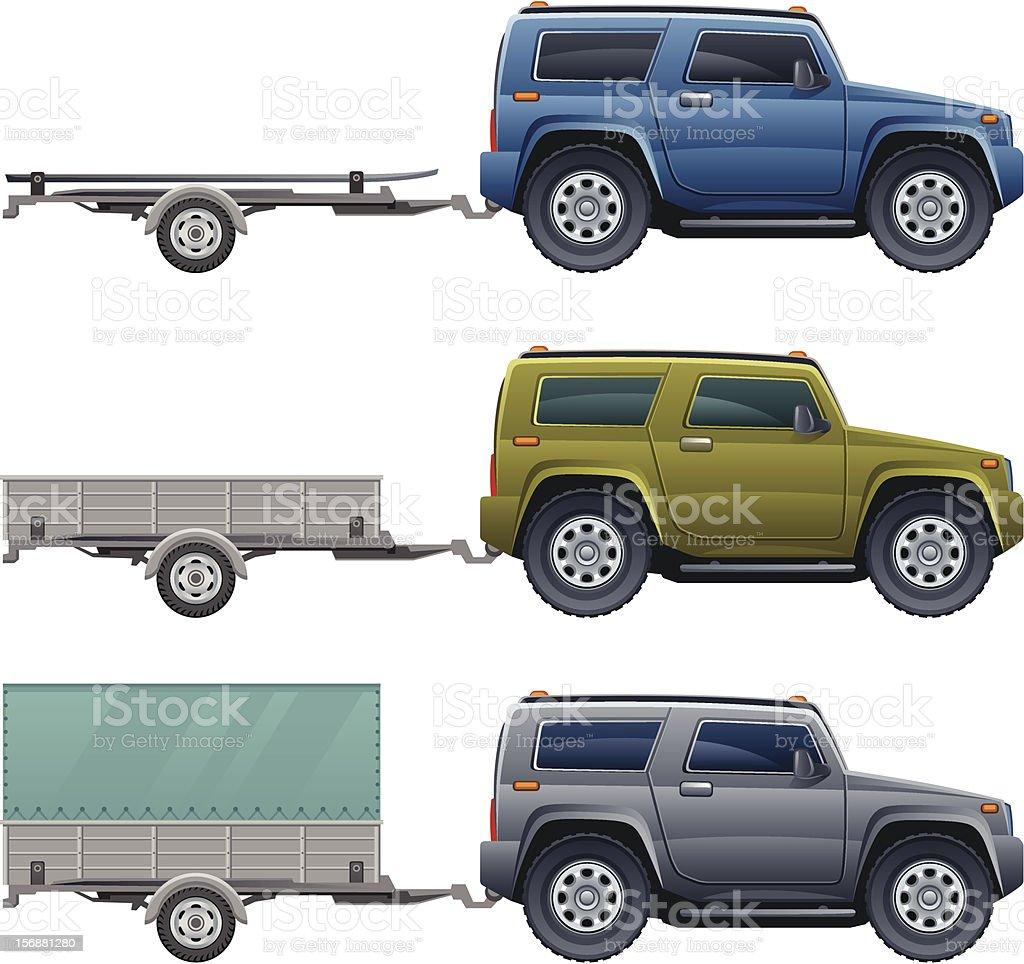 Car with trailer vector art illustration