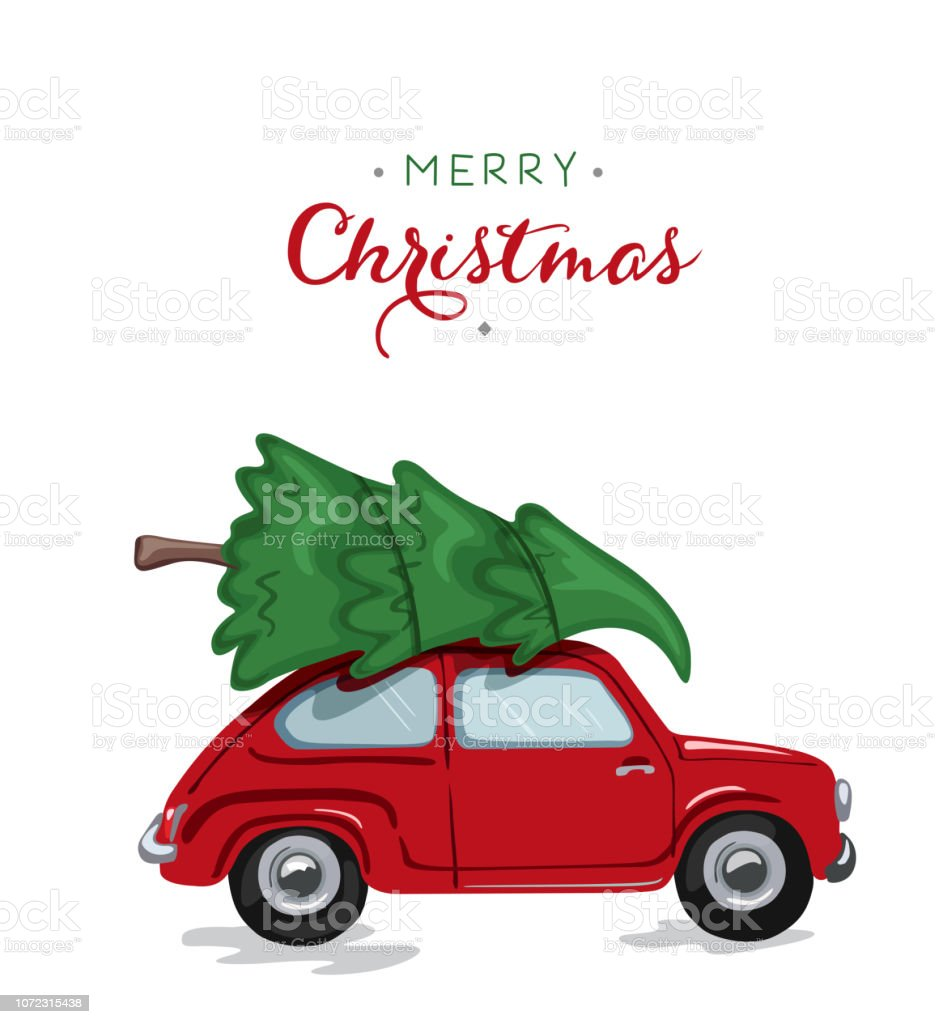 Car with Xmas Tree for Christmas and New Year. - Illustration