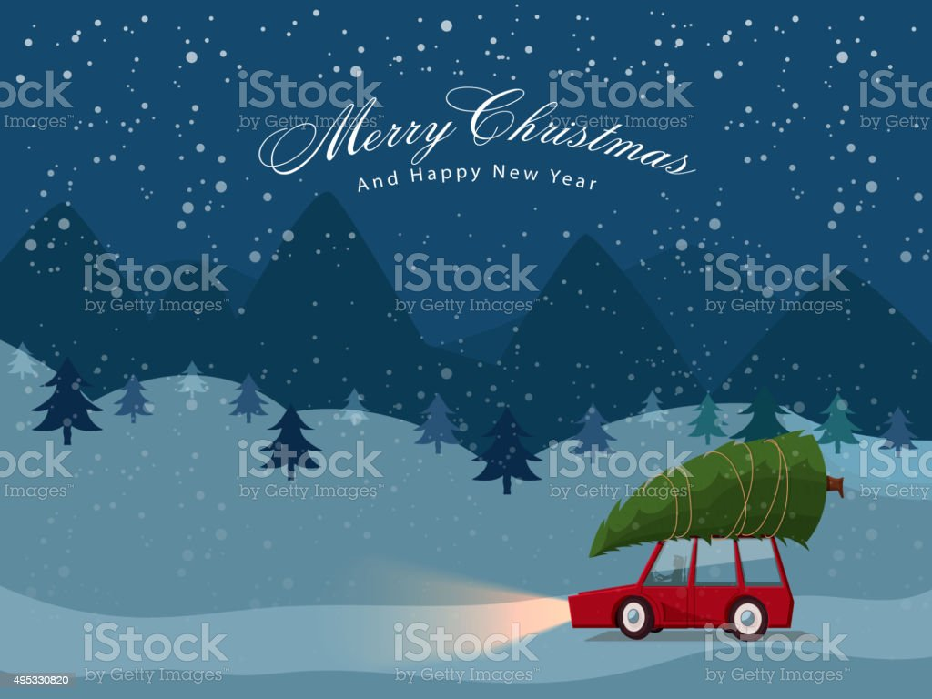 Car with Xmas Tree for Christmas and New Year.