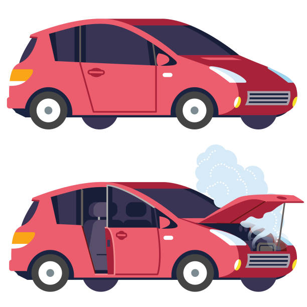 Car working and not working vector art illustration