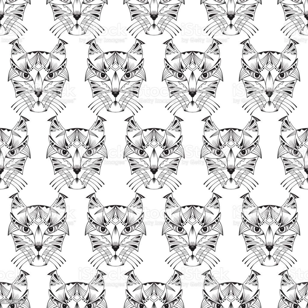 Karakulak Lynx Vahşi Kedi Kafaları Vektör Seamless Modeli El