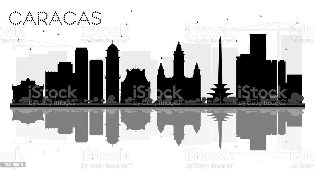 Caracas City skyline black and white silhouette with reflections. 免版稅 caracas city skyline black and white silhouette with reflections 向量插圖及更多 人 圖片