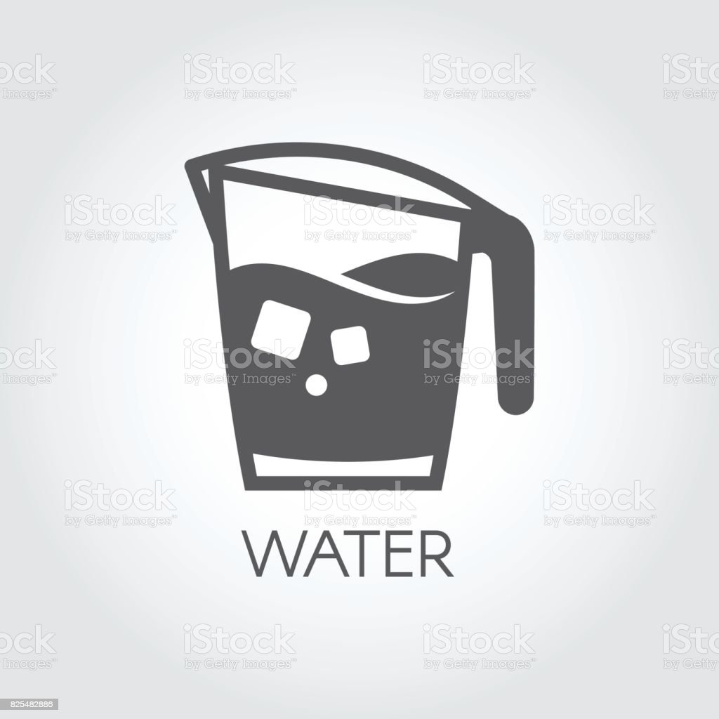 Carafe of water or other abstract beverage and ice cubes. Flat icon - cookery simplicity pictograph vector art illustration
