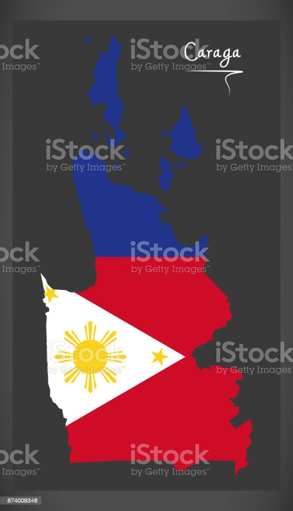 Caraga map of the Philippines with Philippine national flag illustration vector art illustration