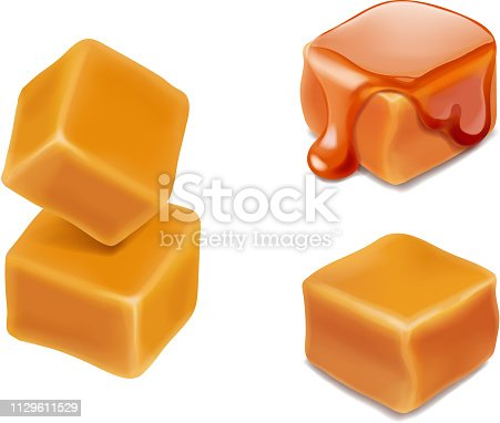 Caramel candies 3d isolated vector.