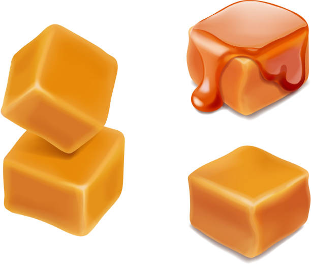 Caramel candies 3d isolated vector. Caramel candies 3d isolated vector. caramel stock illustrations