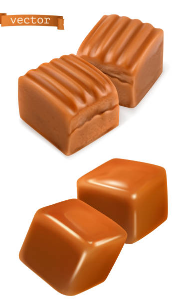 Caramel candies 3d vector Caramel candies 3d vector caramel stock illustrations