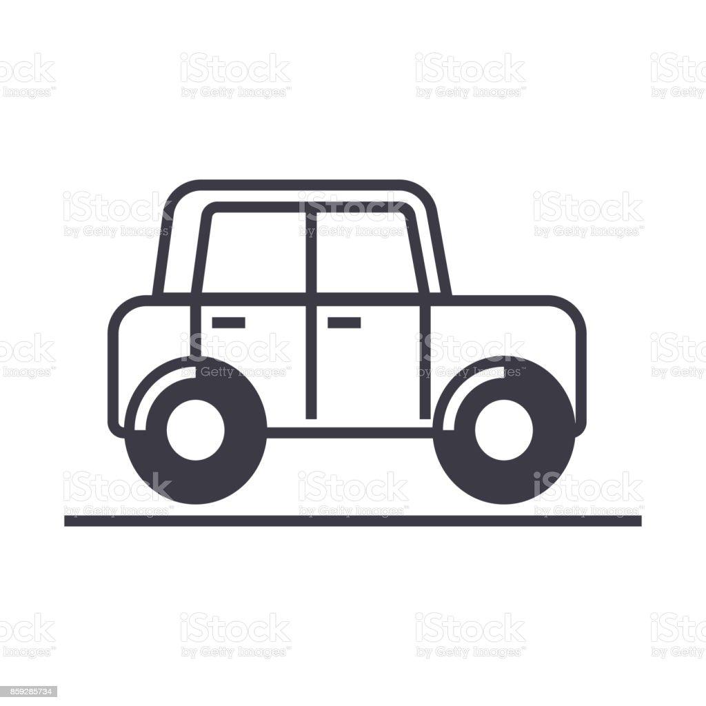 Ilustración de Coche Auto Vehículo Vector Línea Icono Signo ...