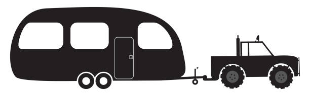 Caravan And 4x4 Silhouette Vector Art Illustration