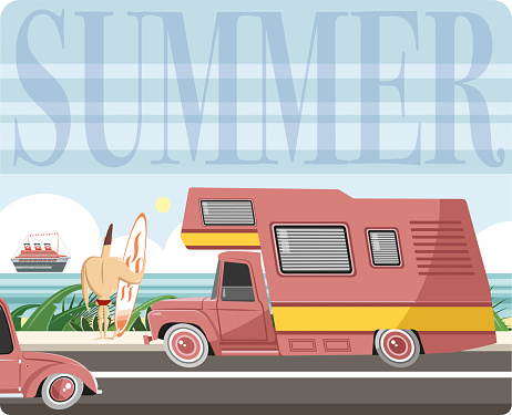 Easy editable vintage  caravan and surfer vector illustration. All elements was layered seperately...