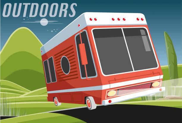 wohnwagen in der nacht - tour bus stock-grafiken, -clipart, -cartoons und -symbole