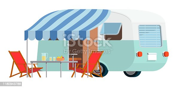 Vector illustration of caravan with awning with sunbeds and tables in front of it
