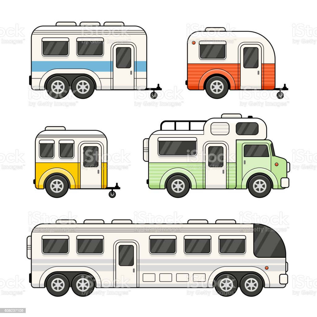 Caravan Camping Trailer Set On White Background Vector Royalty Free