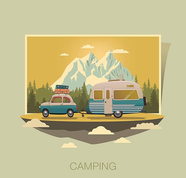 stockillustraties, clipart, cartoons en iconen met caravan camping - caravan