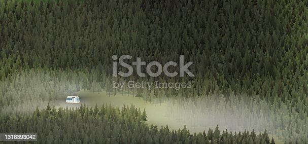 istock Caravan campsite in the deep forest 1316393042