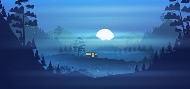 stockillustraties, clipart, cartoons en iconen met de camping van de caravan in de bergen bij nacht - mist donker auto