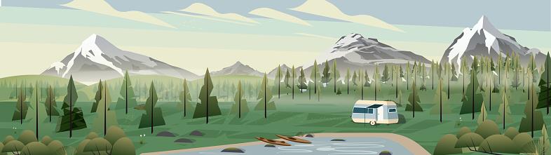 Caravan campsite in the mountains panorama
