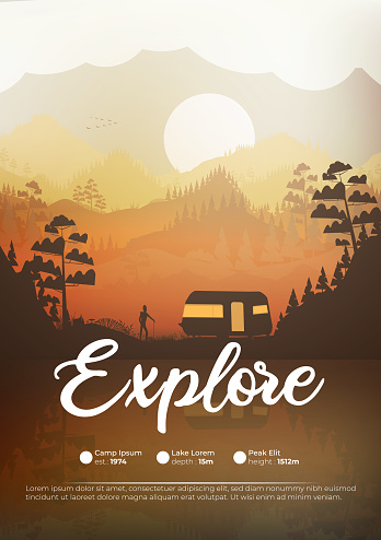 Caravan campsite in the mountains poster