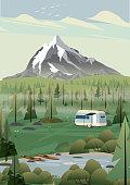 istock Caravan campsite in the mountains 1227090327