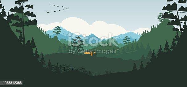 istock Caravan campsite in the mountains 1238312083
