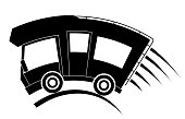 Caravan car confort travel on holiday, speed motion, black silhouette