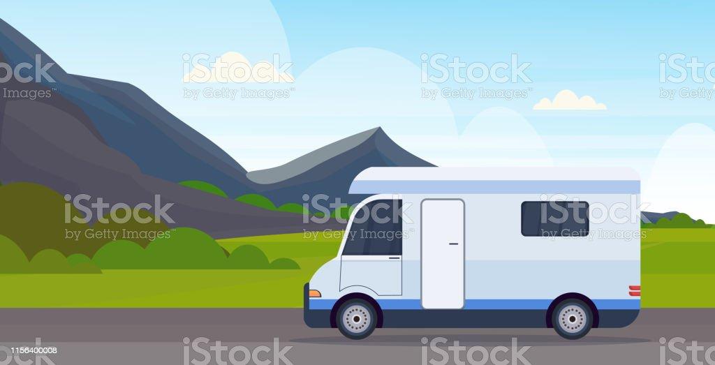 caravan car traveling on highway recreational travel vehicle camping...