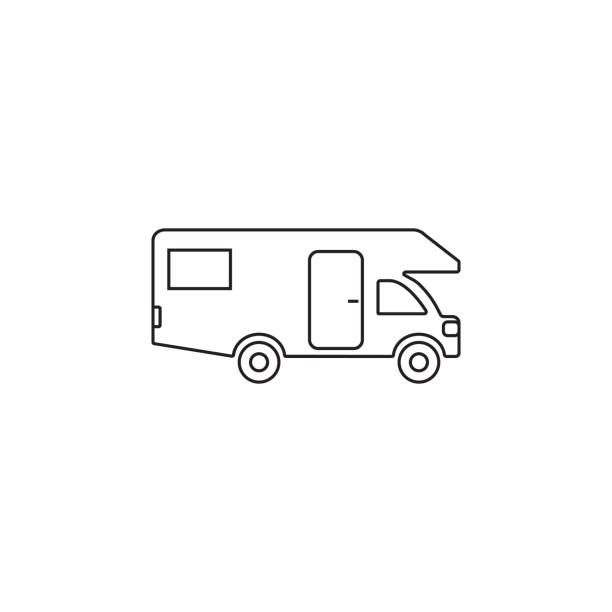 Caravan icon. Motor Home icon Caravan icon. Motor Home icon on white background rv interior stock illustrations