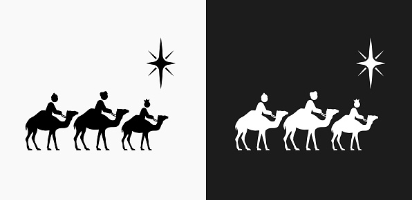 Caravan Icon on Black and White Vector Backgrounds