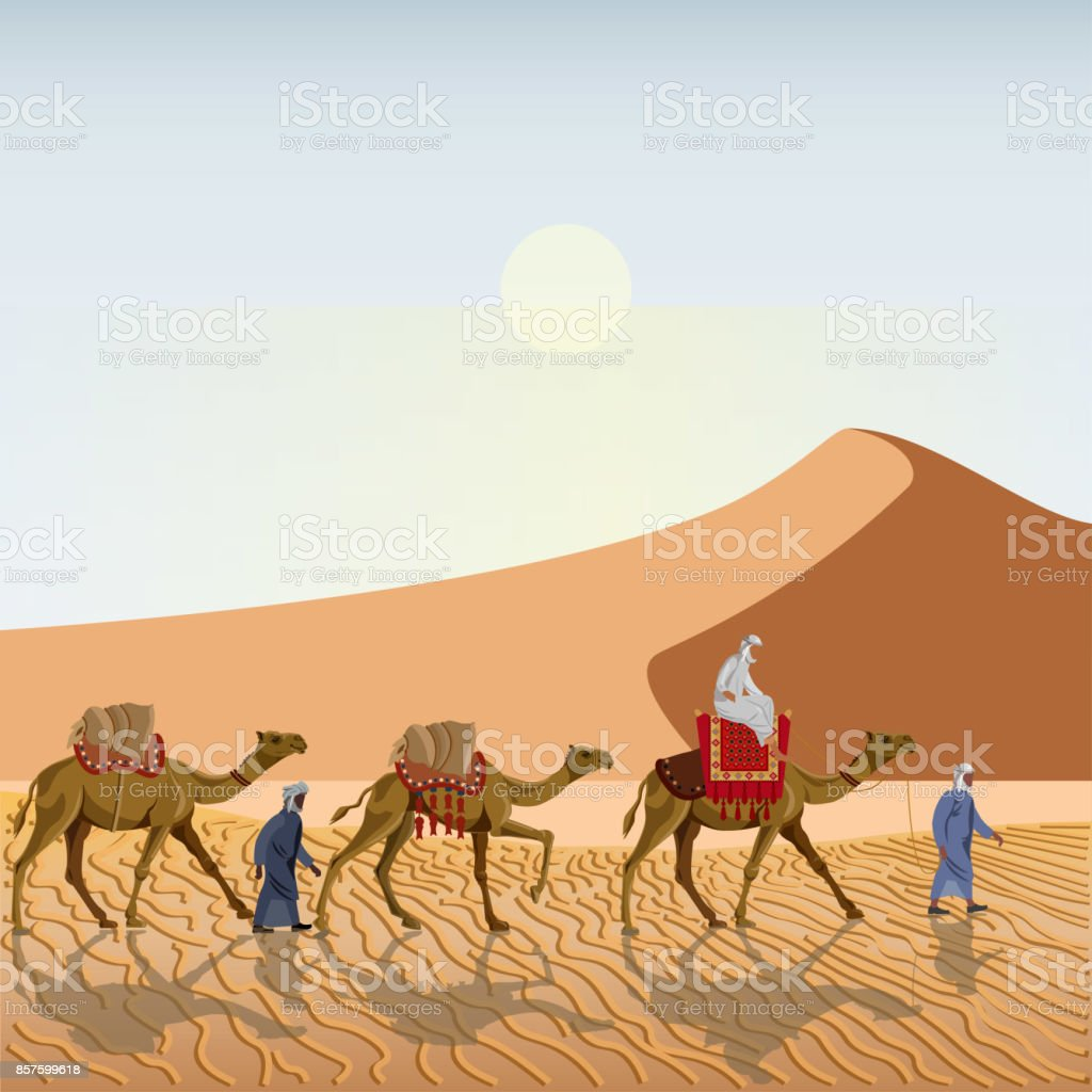 Caravan in the desert vector art illustration