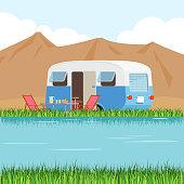 Vector llustration of caravan on grass on lake shore