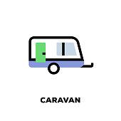 istock Caravan Line Icon 1063769764