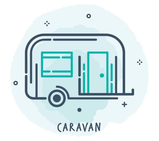 wohnwagen-line-symbol - campinganhänger stock-grafiken, -clipart, -cartoons und -symbole