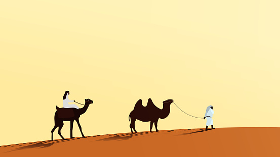 A caravan of camels with people walking along the desert sand. A man rides a camel. The second person leads the camel over the leash. Vector EPS10.