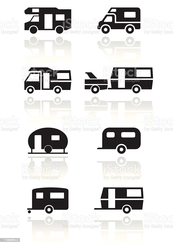 Caravan or camper van symbol vector illustration set. royalty-free stock vector art