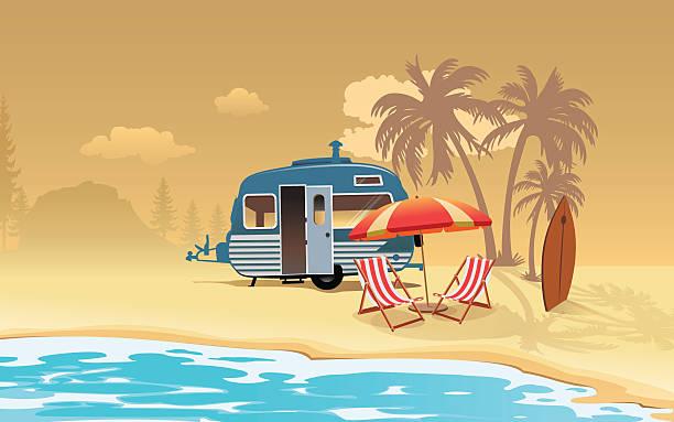caravan vacation - campinganhänger stock-grafiken, -clipart, -cartoons und -symbole