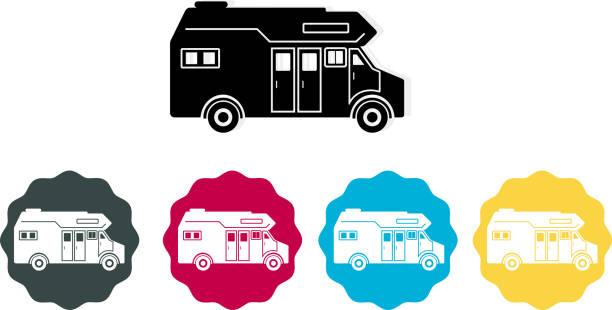 Caravan Van Icon Set of Travel Trailer's illustration is AI10 EPS rv interior stock illustrations