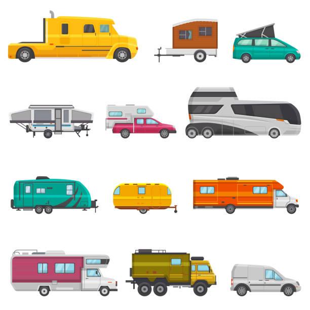 stockillustraties, clipart, cartoons en iconen met caravan vector camping aanhangwagen en camper caravan voertuig voor reizen of reis illustratie vervoerbare set camp busje of toerisme vervoer geïsoleerd op witte achtergrond - caravan