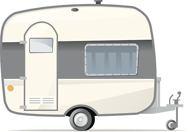 Caravan Vector Art Illustration Retro Camper Trailer