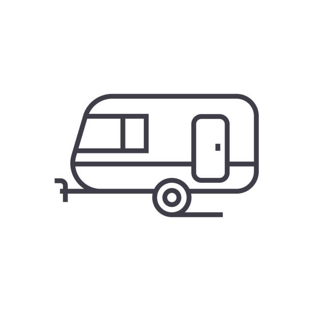 caravan vector line icon, sign, illustration on background, editable strokes - caravan stock illustrations