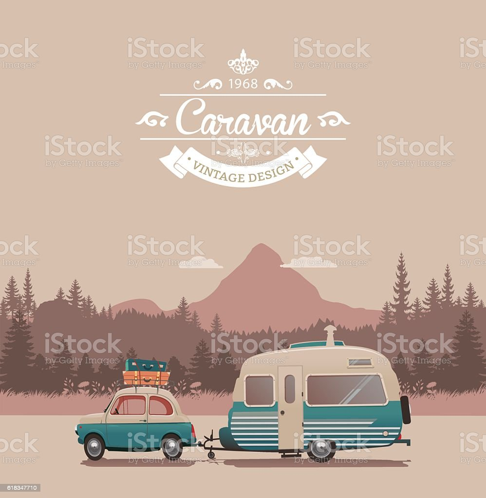 Caravan vintage vector art illustration