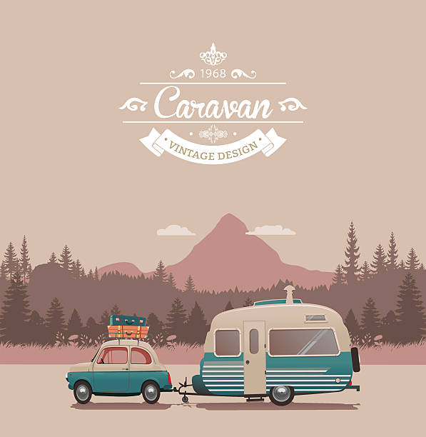 Caravan Vintage Vector Art Illustration