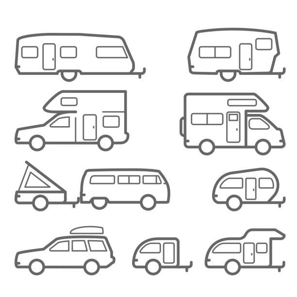 stockillustraties, clipart, cartoons en iconen met caravans en camper aanhangwagens - weg reis pictogrammen - caravan