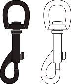 Carbine hook token. Vector illustration isolated on white background