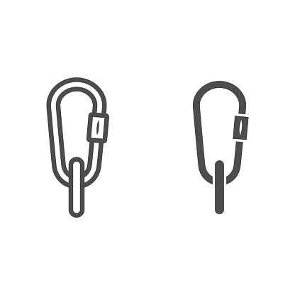 Carbine line and solid icon, World snowboard day concept, Hiking carabiner sign on white background, Carbine equipment icon in outline style for mobile concept and web design. Vector graphics.