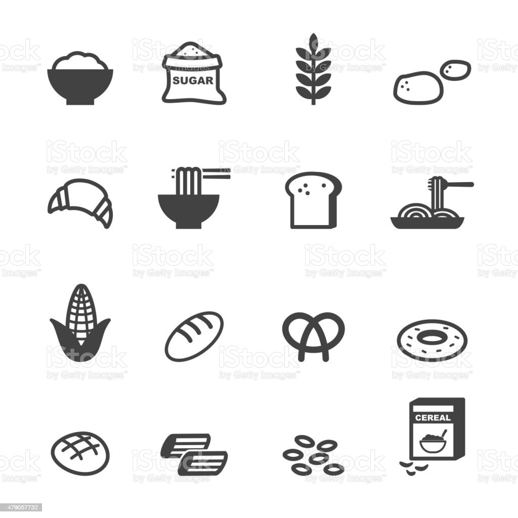 carbohydrate food icons vector art illustration
