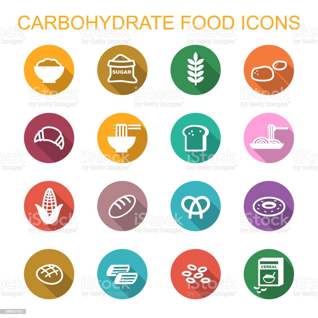 carbohydrate food long shadow icons vector art illustration